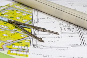 25267269 - construction plans and plots with compas