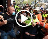 'No jab no job' brings out riot police – shuts down construction